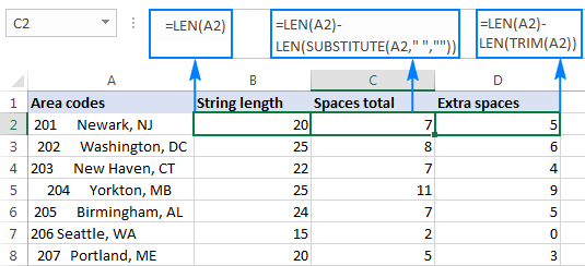 How to remove blank spaces in Excel - leading, trailing, non