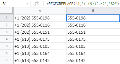 Remove the first 9 chars from cells using REGEXRELACE