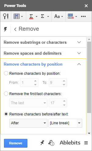 Remove characters by position using Power Tools.