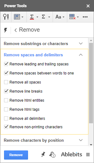 Remove whitespaces and delimiters using Power Tools.
