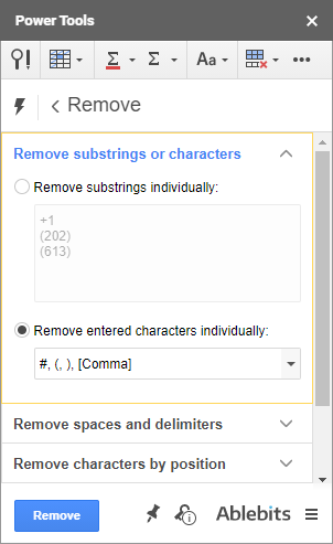 Remove substrings or characters using Power Tools.