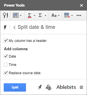 Split Date & Time for Google Sheets to remove time from timestamps.