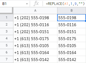 Remove the first 9 chars from cells using the REPLACE function.