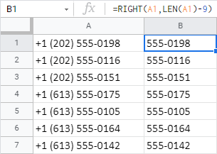 Remove the first 9 chars from cells using RIGHT+LEN.