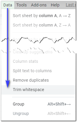 Find the Trim whitespace tool in the Google Sheets menu.