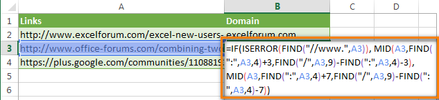 Excel formula to extract domain names from URLs