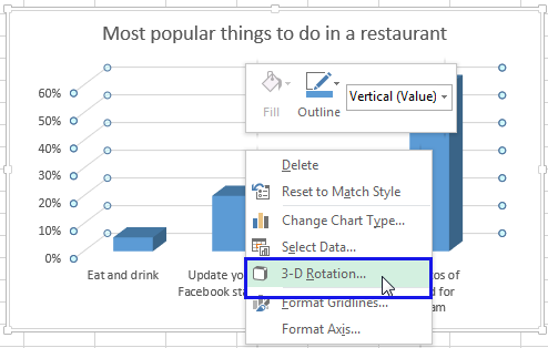 Right-click on your chart and select the 3-D Rotation from the menu list