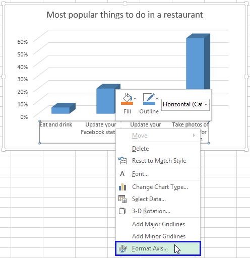 Rotate charts in excel spin bar column pie and line charts right click on the horizontal axis and select the format axis item from the menu ccuart Images