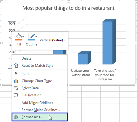 Right click on the Vertical axis and select the Format Axis item from the menu