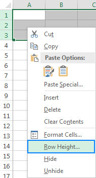 Another way to change the row height in Excel