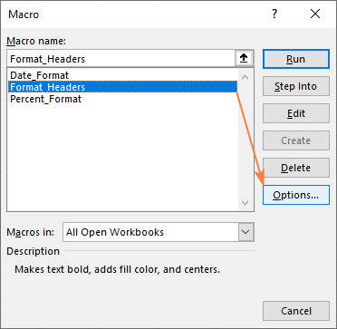 Click Options to edit the macro parameters.