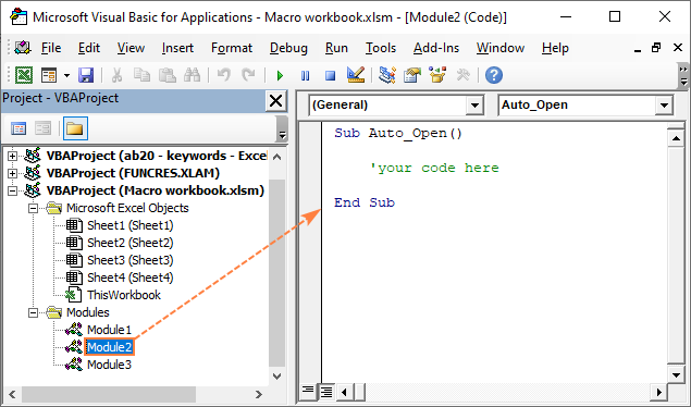 A macro runs automatically whenever the workbook is opened.
