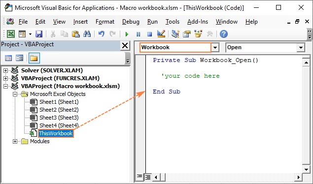 Run a macro on opening a workbook