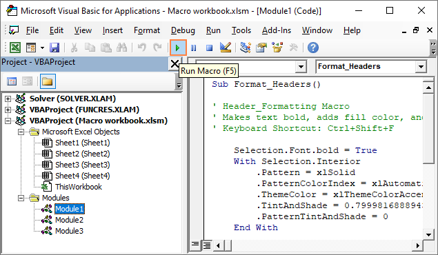 Running a macro from the VBA Editor