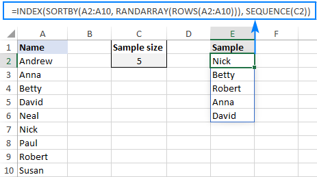 Excel random selection from list with no duplicates