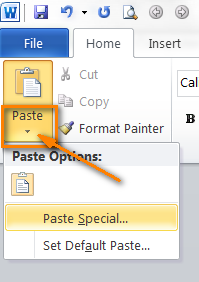 Click the Paste button for Paste Special options