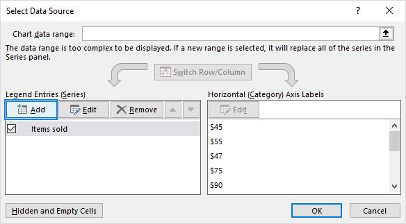 Select Data Source dialogue box: Add