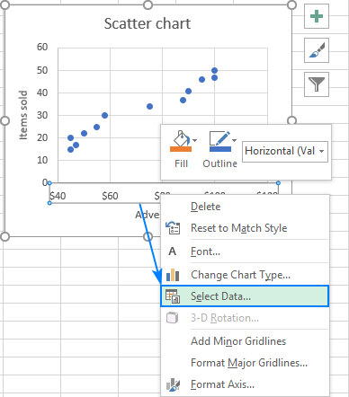 Excel scatter plot: Select Data