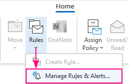 Manage Rules & Alerts in Outlook