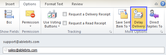 Click on the Delay Delivery icon