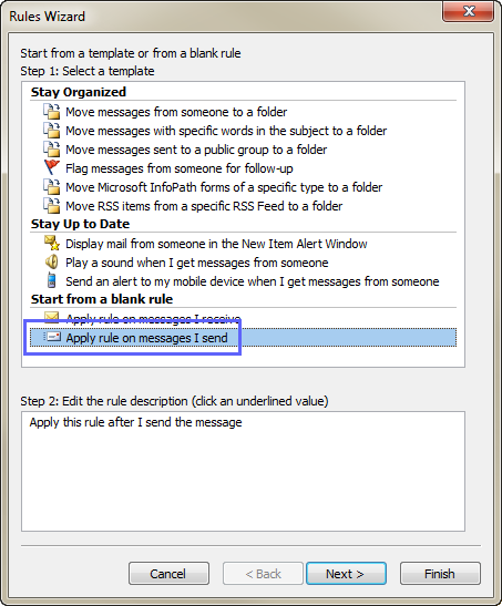 Select the Apply rule on messages I sent option