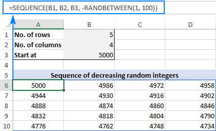 Formula to create a series of decreasing random integers