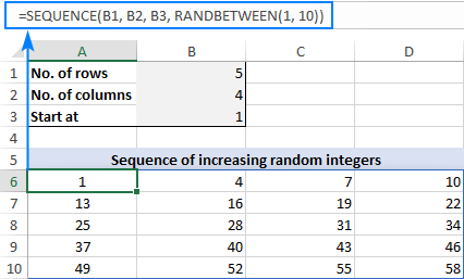 Formula to generate a series of increasing random integers