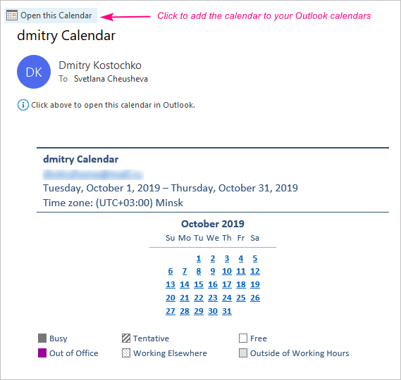 Add an emailed calendar to Outlook.