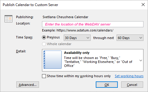 Specify the publishing location and calendar details.