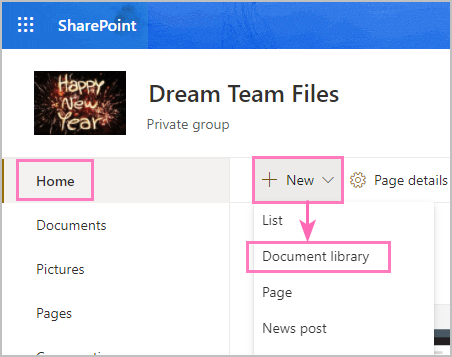 How to create a new document library