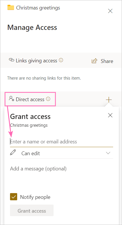 Granting direct access to a user