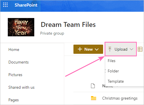 How to upload a file into the folder
