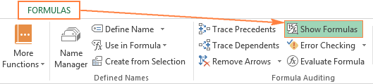 The Show Formulas option on the Excel ribbon