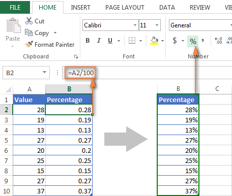 Formatting existing values as percentage in Excel