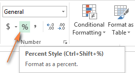 Click the Percent Style button to display numbers as percentages in Excel.