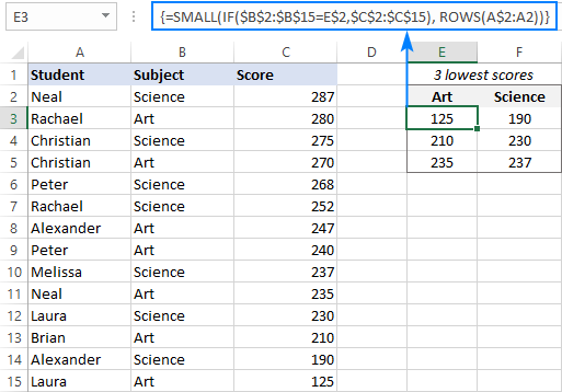 SMALL IF formula to return bottom 3 values based on condition
