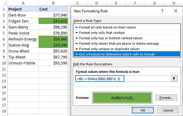 Highlighting bottom values in Excel