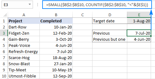 A formula to get a previous date closest to the specified date