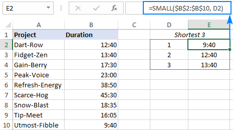 SMALL formula to get the shortest 3 times
