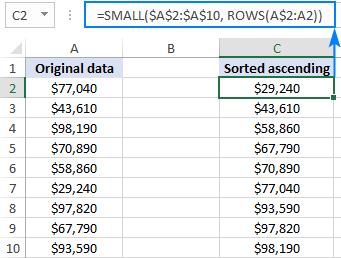 SMALL formula to sort numbers ascending