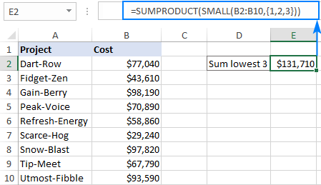 A formula to sum smallest 3 values