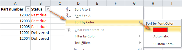 Use Excel AutoFilter to sort by one color.