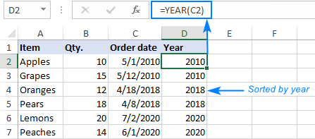 Sorting data by year, ignoring months and days
