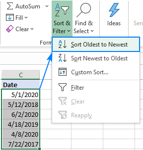 Sorting dates in chronological order in Excel