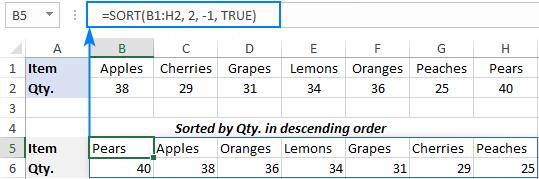 Excel formula to sort data by column