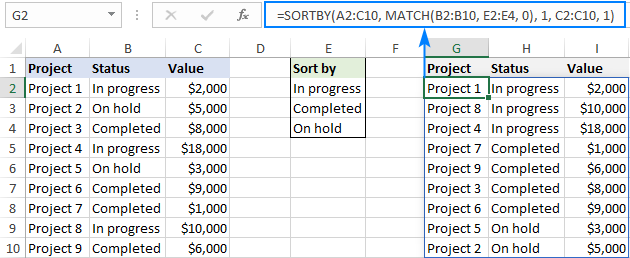 Custom sort with multiple sort levels