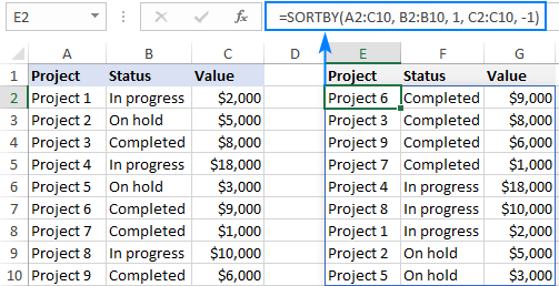 Excel formula to sort by multiple columns