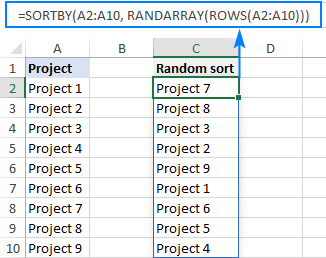 Formula to randomly sort a list in Excel