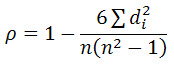Spearman correlation coefficient formula for no tied ranks