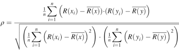 The full version of the Spearman rank correlation coefficient formula